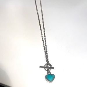 """Turquoise toggle sterling reversible 15"""" necklace"""